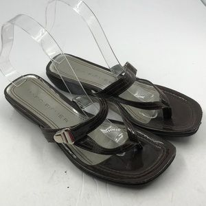 Marc Fisher Brown Patent Thong Sandals 8 8M